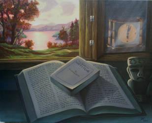 Bible in front of dying sun by TecuciztecatlOcelotl