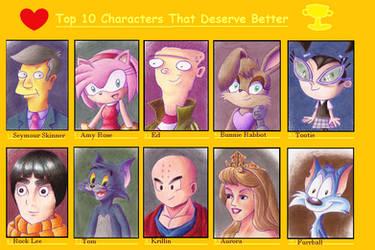 My Top 10 Characters That Deserve Better Meme by TecuciztecatlOcelotl
