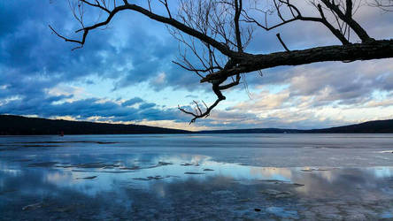 Winter Sunset over Cayuga Lake by X
