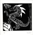 Linoleum Dragon Print by MIZTER-ROOTBEER