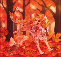 HC Day 2 - Jumping into piles of leaves by prince-o-sky