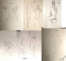 Life drawing gesture sketches, week 3 by 7AirGoddess3