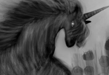 Unicorn Horse (black-white drawing) by Aqeel-Iraq