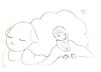 Baby and Sheep by RevuriiMezaaransu