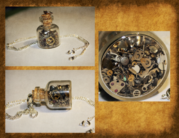 Clockwork Glass bottle Necklace by Timatae