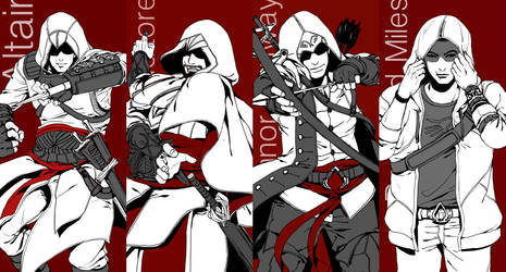 assassin's creed - the four assassins by vanillatte54