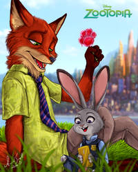 .: Nick Wilde and Judy Hopps - Zootopia :. by Amand4