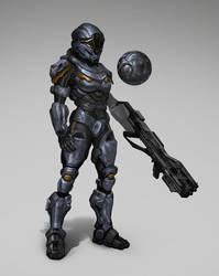 Futuristic Marine / Halo: Spartan Ops with helmet by Carl-Ellistrator