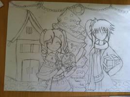Yurara and Ayato in Christmas (Sketch) by AkikazeKun