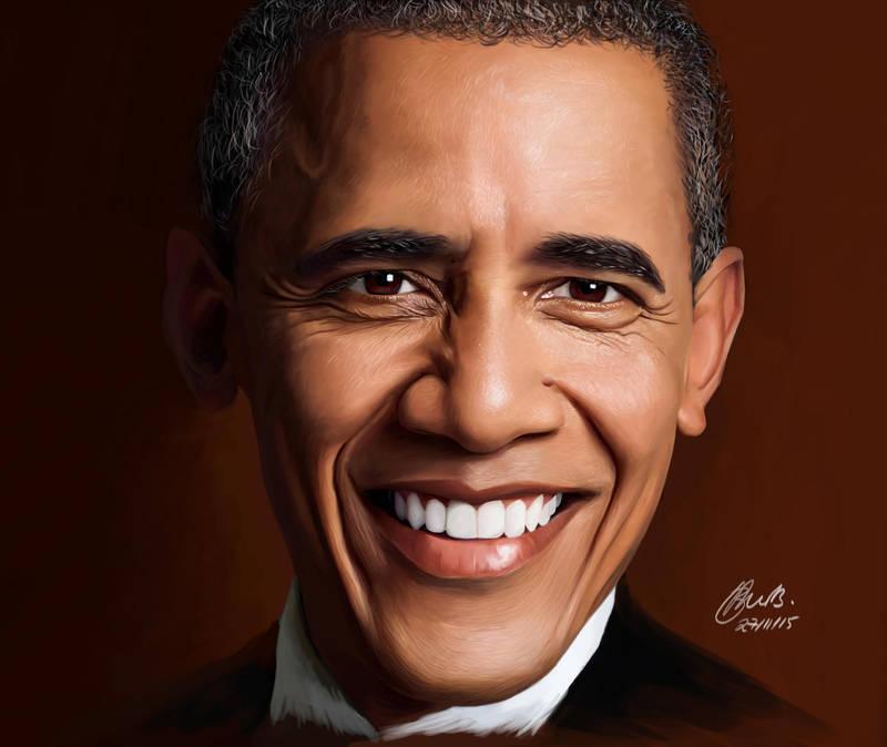 Barack Obama digital painting by brentonmb