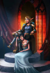 Commission - Larrendias Dawnwarder and Elinyria by riikozor
