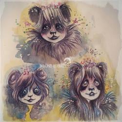 Tiny Panda Girls by winona-adamon