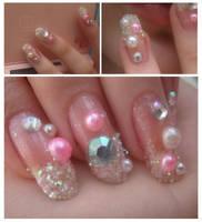 Pink Princess Nails by OkBear