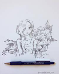 Flower Girl Sketch by MeldyRose