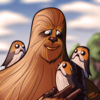 Chewie and the Porgs by jonathanserrot