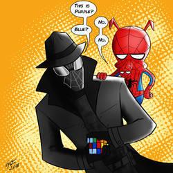 Spider-man Noir and Spider-Ham by jonathanserrot