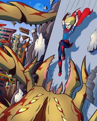 Supergirl vs Thangarian Snare Beast by jonathanserrot
