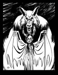 INKTOBER 2017 Day 5: Wulf and Batsy Fall17 by BryanBaugh