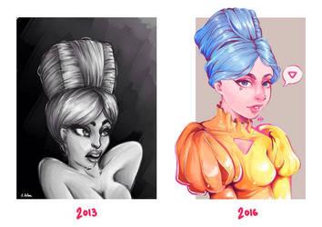 Captive Princess 2013 vs. 2016 by MarrowMelow