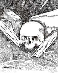 Pen and Ink Skull by MrMinos
