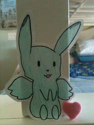 Flying Mint Bunny Paperchild :3 by CongotehJackal