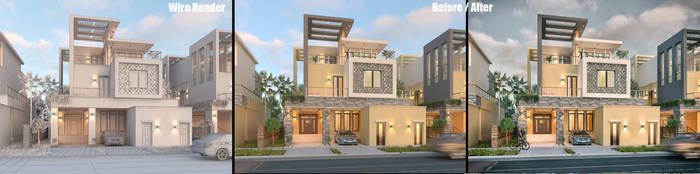 Private Villa Facades Design - Before/After 2 by M-Salman