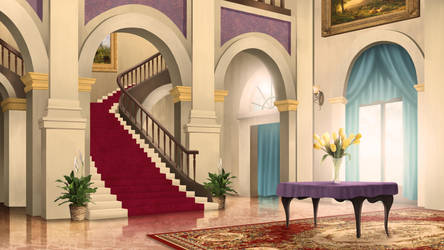 Entrance Hall - visual novel BG by gin-1994