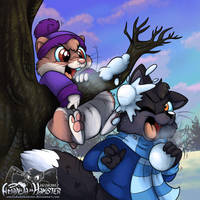 Snowball Fight by AmandaDaHamster
