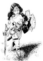 comission warrior wonder woman - ink by kikomauriz