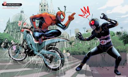 Spiderman vs kamen ride black by kikomauriz