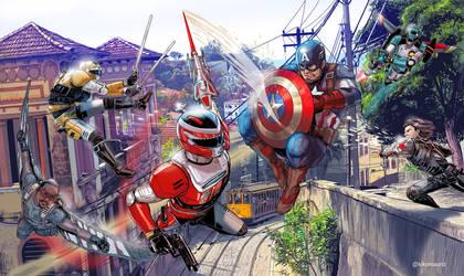 Team Captain America v Winspector - color by kikomauriz