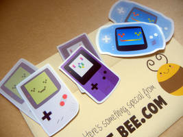 Game Face Gameboy Stickers by ditto9