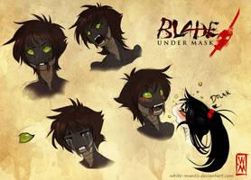 Blade Under Mask: Sayaka Expressions by WhiteMantisArt