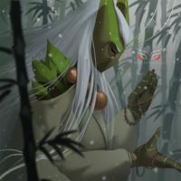 Blade Under Mask Portrait: Eien by WhiteMantisArt