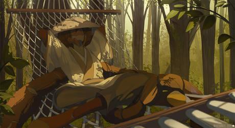 Blade Under Mask: Sayaka Hammock by WhiteMantisArt