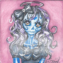 Cutie Blue Sugar Skull by SeraphimFeathers