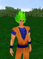 Goku Super Saiyan God Green by dragonzero1980