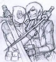 Dante vs Deadpool by AndouHayate