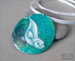 White whale miniature painting necklace by Lyth