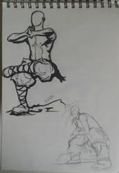 Martial arts doodles - Aang and Korra? by ShioBRain