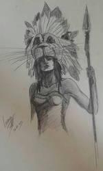 Warrior sketch by ShioBRain