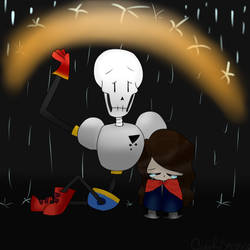 Papyrus Comforting a Small Bella (Redone) by ColorfulSketchings