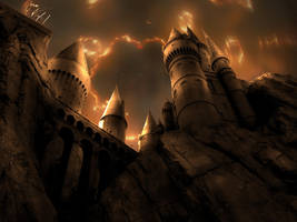 Hogwarts under attack by rafamoliveira