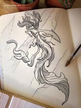 CREATUANARY day 11 (Dark Mermaid) by Dibujante-nocturno