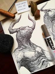 CREATUANARY day 13 (Minotauro) by Dibujante-nocturno