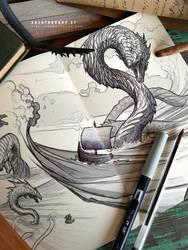 #creatuanary Day 27: #midgard #serpent by Dibujante-nocturno