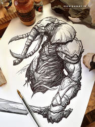 #creatuanary Day 29: #elephant #warrior by Dibujante-nocturno