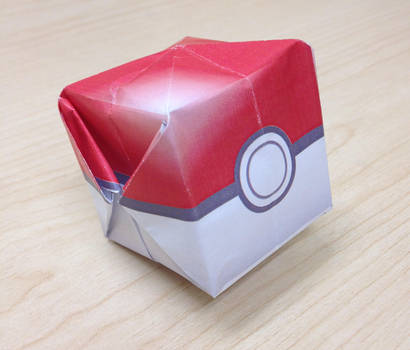 Pokemon Waterbomb Pokeball Origami template by jimbox31