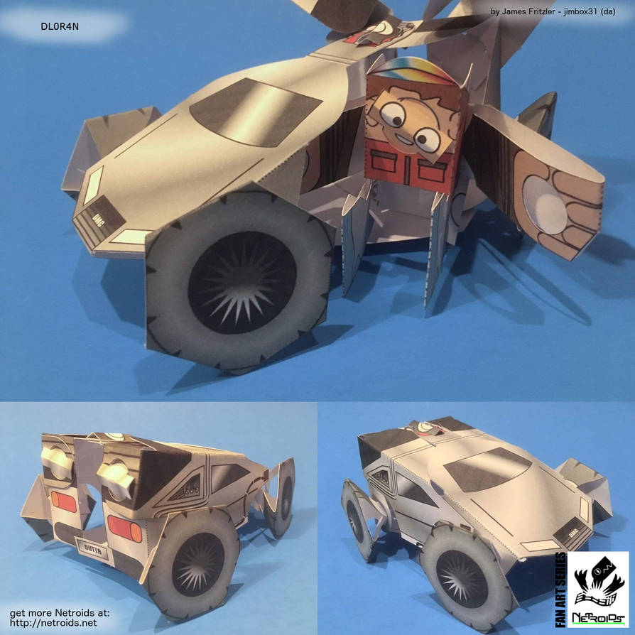 DeLorean and Marty Fan Art Paper Toy by jimbox31
