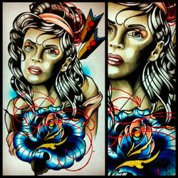 Girl Head liquid acrylic by Uken